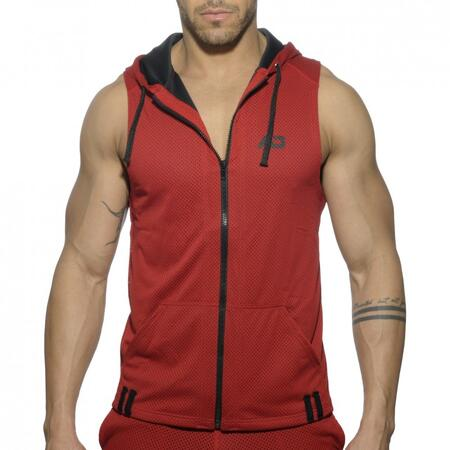 Addicted AD355 - SLEEVELESS LOOP-MESH HOODY RØD