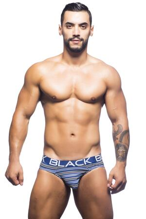 Andrew Christian Black Collection stripe brief