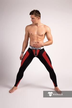 Maskulo youngreo. Men's Fetish Leggings. Codpiece. Zipped rear rød