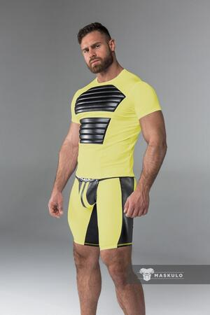 Maskulo armored. men's fetish t-shirt. spandex. front pads gul