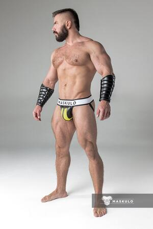 Armored. Men's Fetish Jockstrap. Detachable codpiece i gul