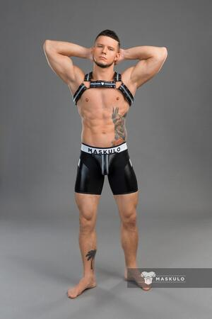 Maskulo youngero. men's fetish shorts. codpiece. sort
