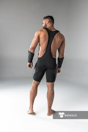 Maskulo armored. men's fetish wrestling singlet. codpiece. full thigh pads