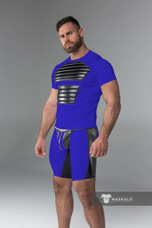 Maskulo armored. men's fetish t-shirt. spandex. front pads blå