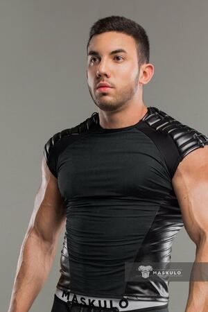 Maskulo Armored. Men's Fetish Top. Spandex. Shoulder lacing