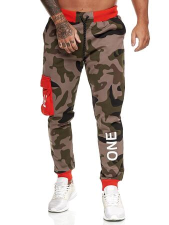 Camouflage joggingbukser med orange