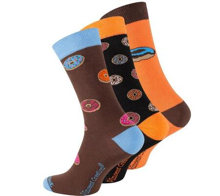 "Vincent Creation® unisex casual strømper  ""Donuts"" 3 par"