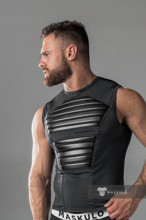 Maskulo armored. men's fetish tank top. spandex. front pads sort