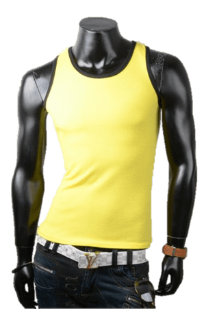 Slim fit tanktop gul