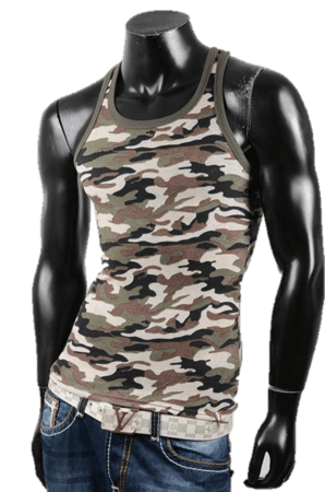 Slim fit camouflage tank top