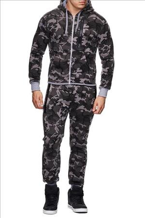 Sort camouflage joggingsæt